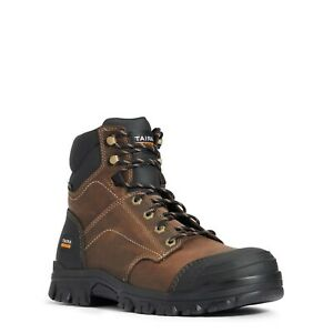 "Ariat® Men's Treadfast 6"" Steel Toe Brown Leather Work Boots 10034671"