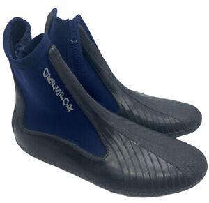 Okespor Scuba Dive Shoes Boots Neoprene Nylon Mens Sz 10.5-12 Blue Black Zipper