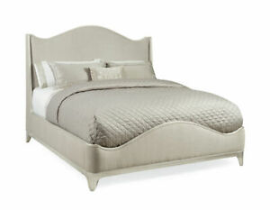 Sliver wood finish and elegant upholstered bed