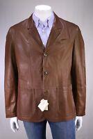 NWT New BRUNELLO CUCINELLI Brown Lightweight Leather Patch Pkt Blazer Jacket XL