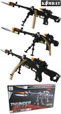 Bambini Ragazzi giocano Soldato Esercito giocattolo THUNDER FIRE MACHINE GUN suono luce vibrazione