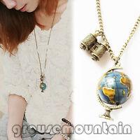 Globe Necklace Planet Earth World Map Art Pendant&Chain Women Globe BJC