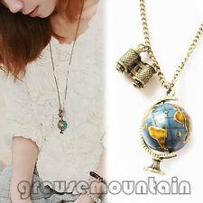 Vintage Globe Necklace Planet Earth World Map Art Pendant&Chain Unique Gift GRO
