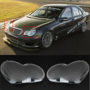 2pcs Headlight Lens Cover Replacement For Mercedes Benz C-Class W203 2001-2007