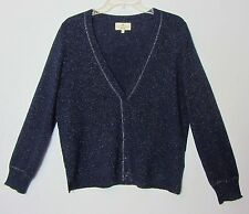 Essentiel Antwerp Cashmere Cardigan Sweater XL L Navy Blue Sparkle Silver Foil