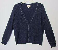 Essentiel Antwerp Cashmere Cardigan Sweater XL L Navy Blue Sparkle Silver Foil