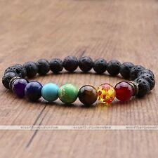 Mens Womens Lava Rock 7 Chakra Charm Healing Prayer Bead Mala Bracelet Elastic