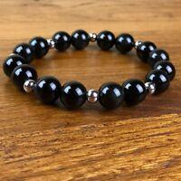 Bracelet Homme/Femme  Obsidienne -  Perles Acier  Pierres Naturelles
