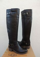 ad9dfcd688a UGG BESS OVER THE KNEE BLACK LEATHER  SHEEPSKIN BUCKLE BOOTS