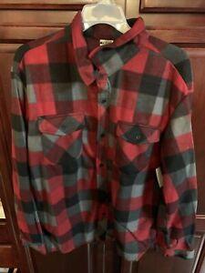 NWT Men's Red & Gray OPEN TRAILS Fleece Flannel Long Sleeve Shirt Size XL
