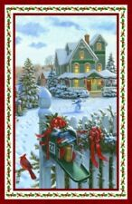 CHRISTMAS DELIVERY SNOW PRESENTS QUILT FABRIC PANEL