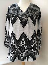 Papaya Black White Chunky Cardigan Jacket Size M 14 16 18  #K60