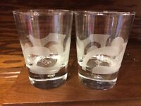 Baileys Irish Rum Cream Air Bubble Bottom Frosted Etched Swirl Tumblers Glasses