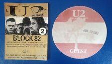U2 - 13th JUNE 1987 - RARE VIP PASSES, THE JOSHUA TREE TOUR - WEMBLEY STADIUM