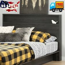 Modern Gray Wood Headboard With Storage Shelf For Queen or Full Size Bed Frame