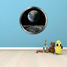 "24"" Porthole Space Ship Window EARTH VIEW FROM MOON #1 SILVER Wall Decal Sticker"