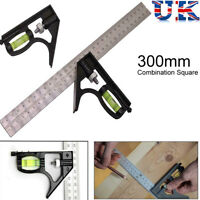 """300mm (12"""") Adjustable Engineers Combination Try Square Set Right Angle Ruler UK"""