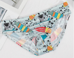 Men X Small Blue Surf Board Nylon Spandex Bikini Brief Underwear Gay Interest UK