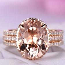 Gorgeous 3pcs/set Ring Champagne Crystal Rose Gold Filled Wedding Ring Size 6-10