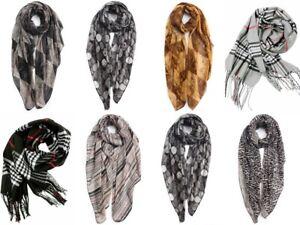Christmas Gifts Ladies Tartan Checked Diamond,Leopard Circle Stripe Scarves