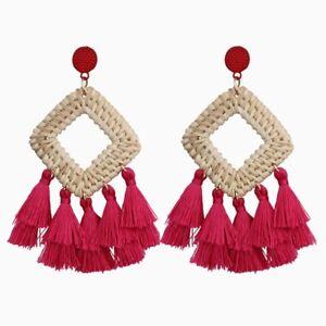 Bohemia Tassel Earrings Statement Handmade Dangle Ethnic Fringe Earrings