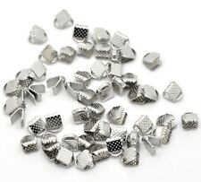 100 Ribbon End Clamps Cord Ends 6mm Silver Tone Jewellery Findings J14902G