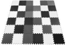 Large 30pc Soft Foam EVA Floor Tiles Jigsaw Interlocking Mats - Black Grey White