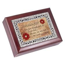 Granddaughter Rosewood Finish With Silver Inlay Jewelry Music Box