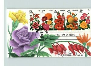 Beautiful Hand Painted SPRING FLOWERS, by D. Peterman, 1994 First Day of Issue