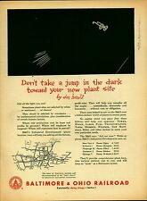 "Vintage 1952 BALTIMORE & OHIO RAILROAD  B&O  ""Jump In The Dark"" print ad page"