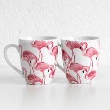 Set of 2 Pink Flamingo Barrel Mugs White Fine Porcelain 13oz Tea Coffee Cups