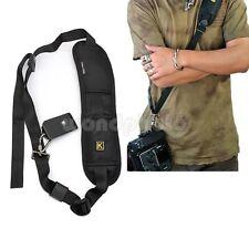 Negro Cinturón Correa de Hombro Cuello para Sujetar Cámara Réflex Digital DSLR