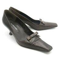 LK Bennett Court Shoes Size 4.5 37.5 Brown Moc Croc Low Kitten Heels Pointed
