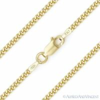 Cuban Curb 925 Sterling Silver 14k Yellow Gold 2.1mm Link Italian Chain Necklace