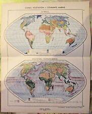1962 Planisphère Climat Végétation & Courants Marins Arctique Islande Laponie