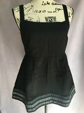 NWT Anthropologie Olivia Embroidered Babydoll Tunic Tank Top Black Small $130