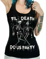 Skeleton Til Death Size XL Graphic Tee Tank Top Womens Goth Horror Gothic Party