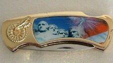 Gold Plated MOUNT RUSHMORE Collector POCKET KNIFE Folding Lockback Steel Blade