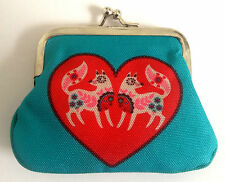 Ladies Girls PRETTY FOX COIN PURSE Turquoise Blue Pink Heart VALENTINE's DAY New