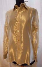 $410 NWT NEIMAN MARCUS CRAIG TAYLOR SHIRT BLOUSE GOLD SHEER METALLIC CUFFLINKS