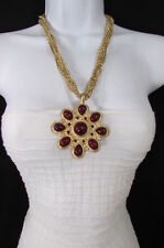 New Women Long Gold Chains Fashion Necklace Big D. Red Flower Pendant +Earrings