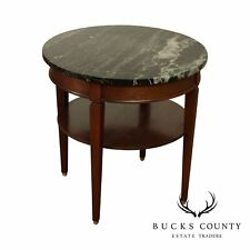 New listing Regency Style Vintage Mahogany Round Black Marble Top Side Table