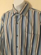 TOMMY BAHAMA Men's Striped Hidden Collar Button Long Sleeve Shirt - Size Medium