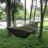 Stoff Hängematte aufhängen Bett mit Moskitonetz für Outdoor-Camping Armee grün
