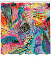 Trippy Shower Curtain Vibrant Rainbow Spiral Print for Bathroom