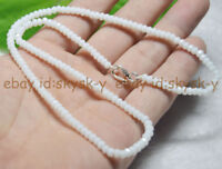 Fine 2x4mm White Jade Faceted Roundel Gems Beads Necklace Silver Clasp AAA