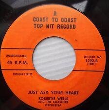 ROBERTIE WELLS & COASTIERS bop TEEN 45 JUST ASK YOUR HEART FOOL'S HALL FAME F984