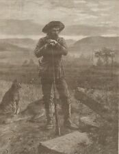 Frontiersman With Hound And Dead Deer. Tables Of The Law. Wood Engraving. 1886