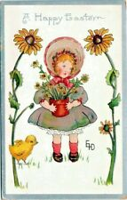 1910 Easter~Artist Signed~GIRL w SUNFLOWERS~CHICK~Silver Emboss Antique Postcard