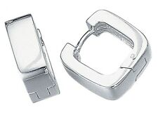 Elements 925 Polished Sterling Silver Square Huggie Hoop Cuff Earring [single]